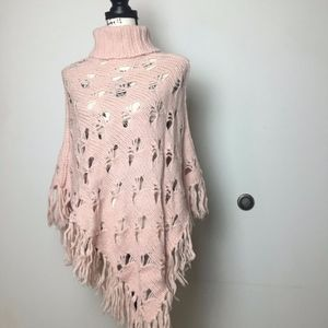 French connection pink turtleneck poncho